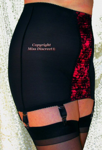 Roll On Vintage Style Six Strap Open Bottom Girdle  - Black with Red Panel Size 8 to 28
